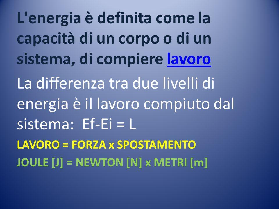 L energia è definita come la capacità di un corpo o di un sistema, di compiere lavoro