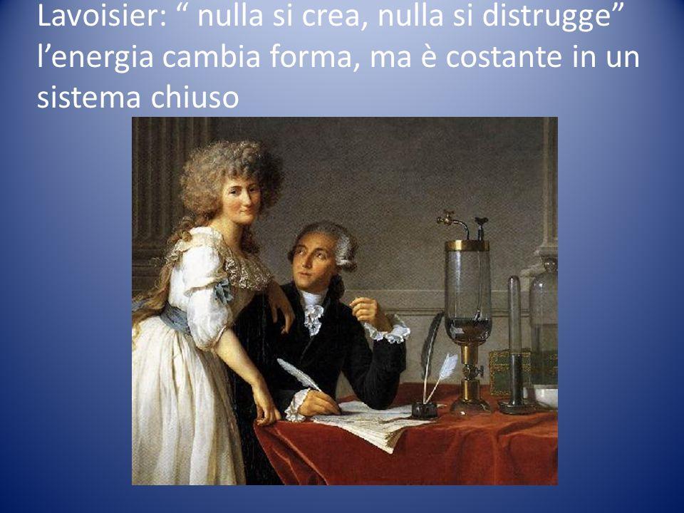 Lavoisier: nulla si crea, nulla si distrugge l'energia cambia forma, ma è costante in un sistema chiuso