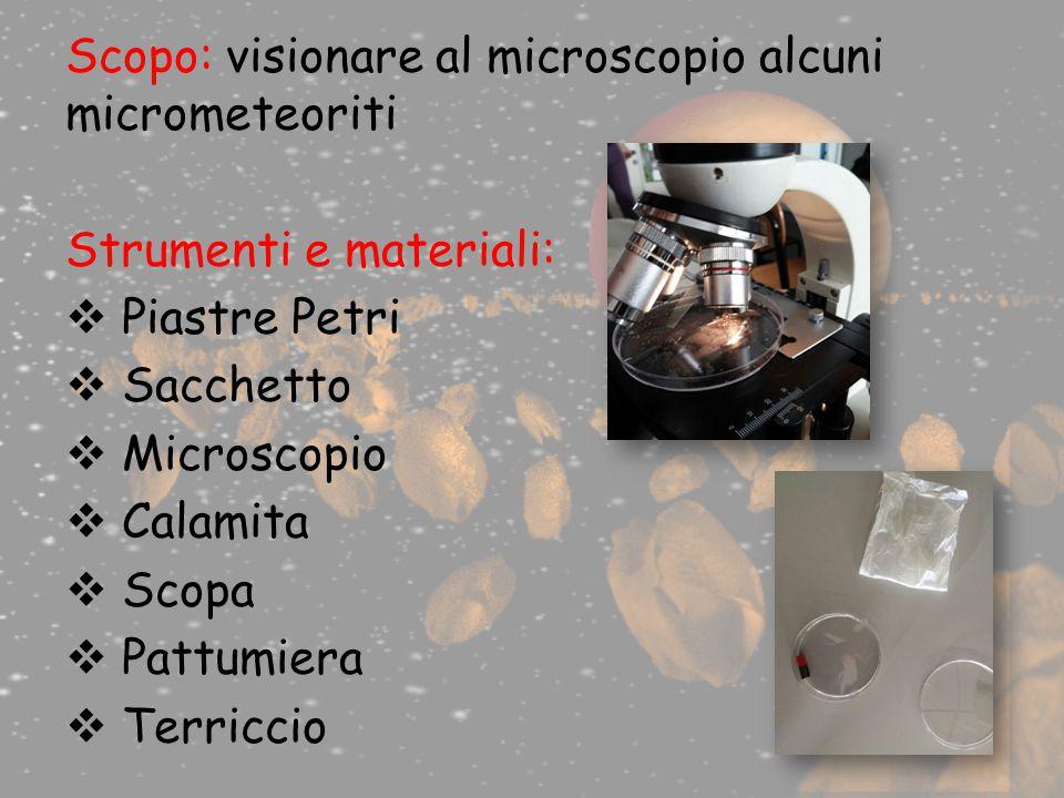 Scopo: visionare al microscopio alcuni micrometeoriti