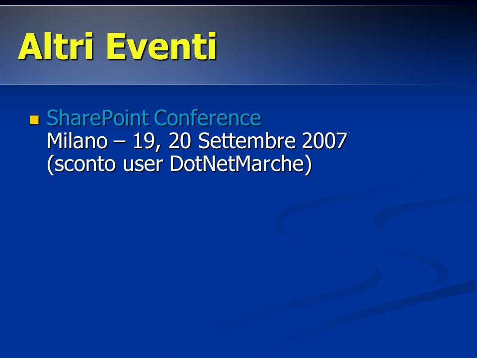 Altri Eventi SharePoint Conference Milano – 19, 20 Settembre 2007 (sconto user DotNetMarche)