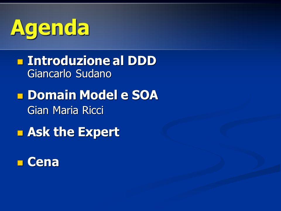 Agenda Introduzione al DDD Giancarlo Sudano Domain Model e SOA