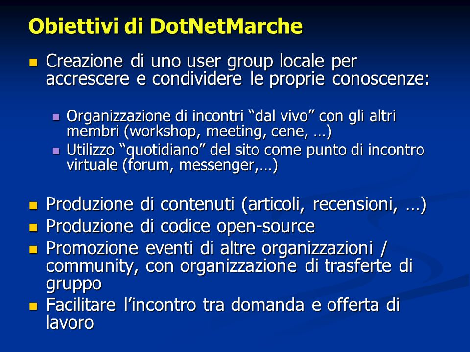 Obiettivi di DotNetMarche