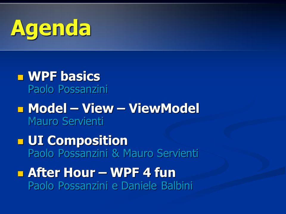 Agenda WPF basics Paolo Possanzini