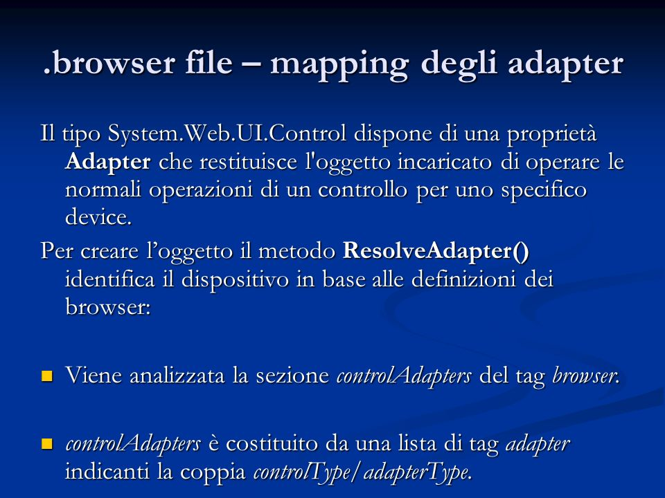 .browser file – mapping degli adapter