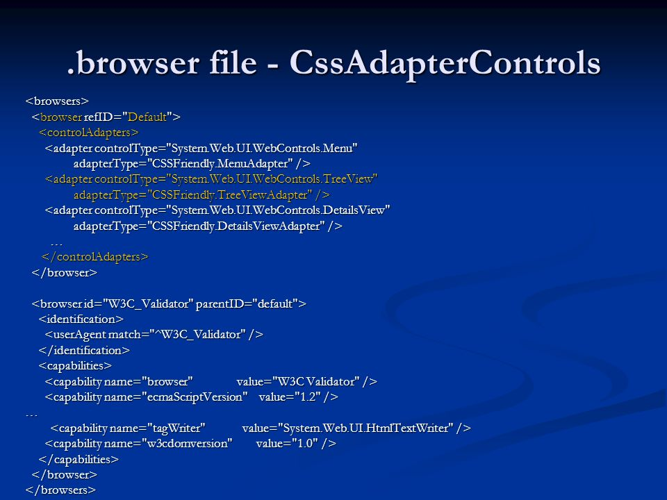 .browser file - CssAdapterControls