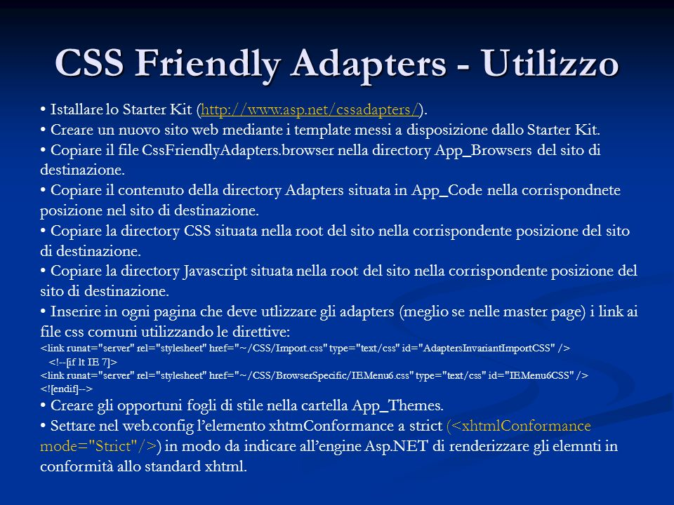 CSS Friendly Adapters - Utilizzo