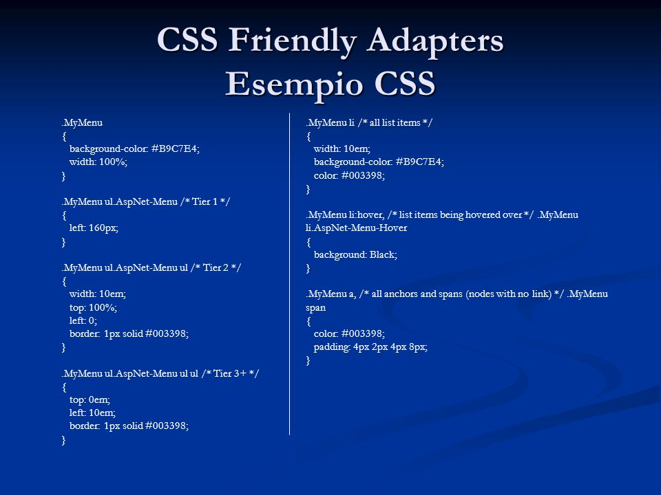CSS Friendly Adapters Esempio CSS