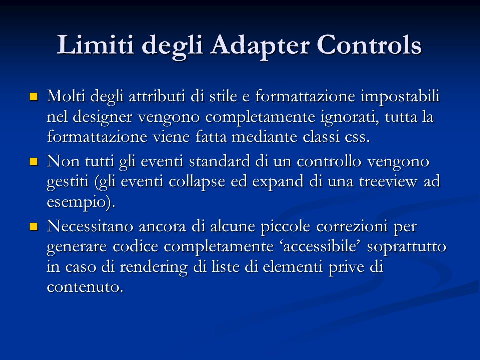 Limiti degli Adapter Controls