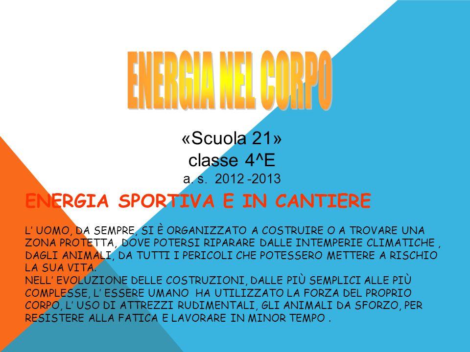 ENERGIA NEL CORPO «Scuola 21» classe 4^E
