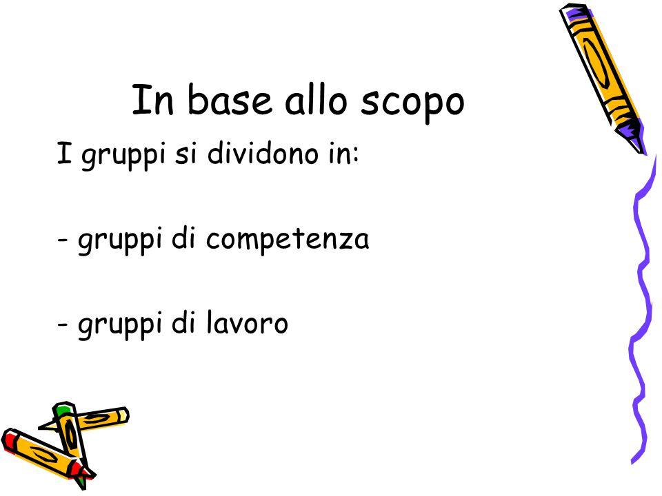 In base allo scopo I gruppi si dividono in: - gruppi di competenza