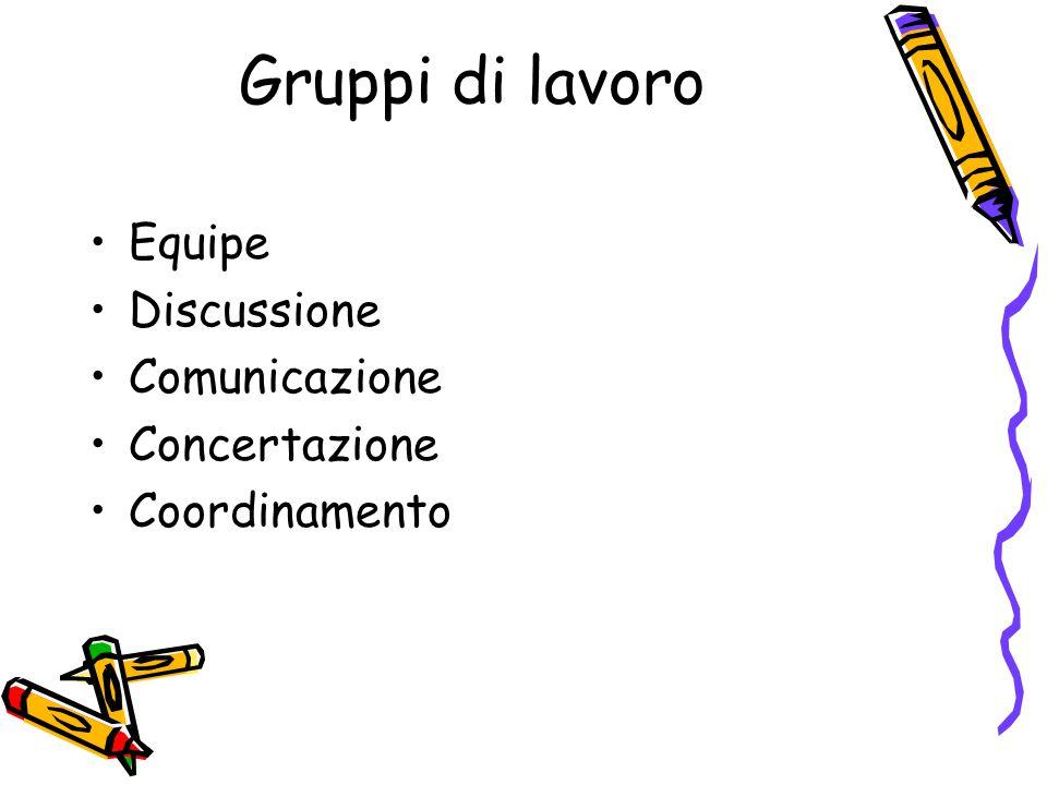 Gruppi di lavoro Equipe Discussione Comunicazione Concertazione