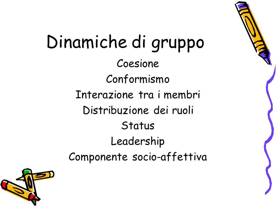 Dinamiche di gruppo Coesione Conformismo Interazione tra i membri