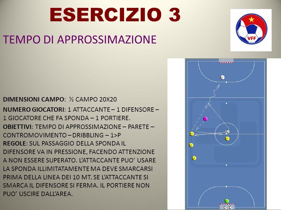 ESERCIZIO 3 TEMPO DI APPROSSIMAZIONE DIMENSIONI CAMPO: ½ CAMPO 20X20