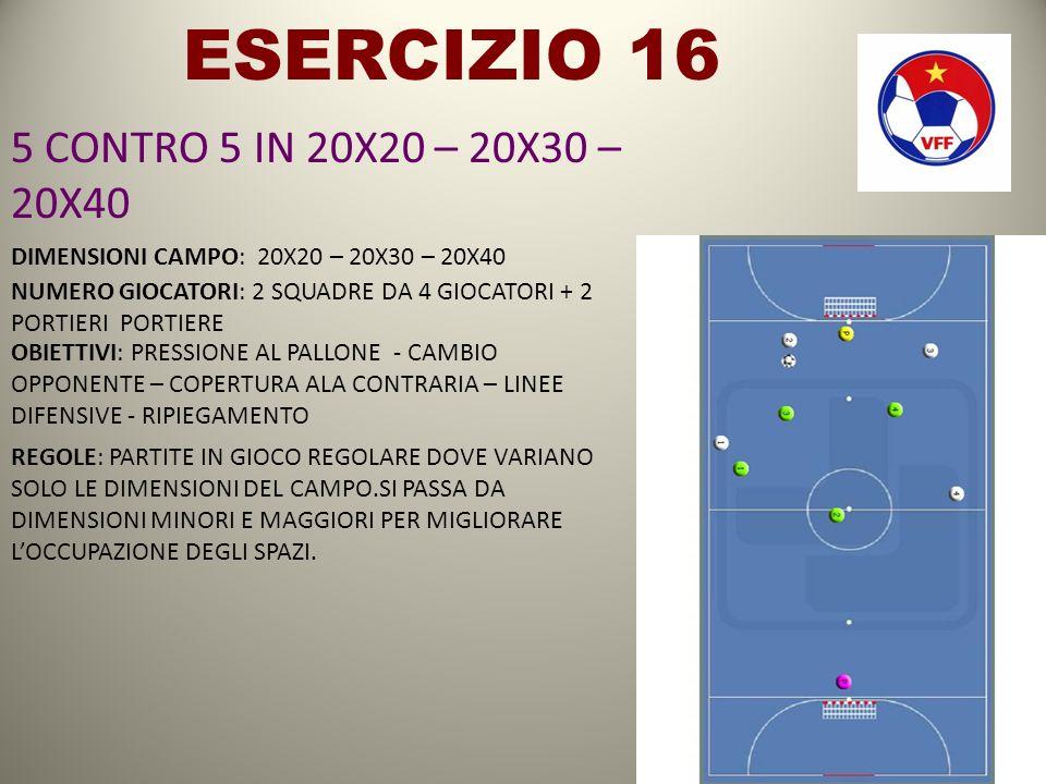 ESERCIZIO 16 5 CONTRO 5 IN 20X20 – 20X30 – 20X40