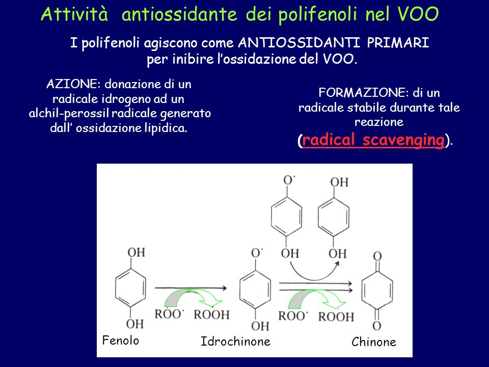 Attività antiossidante dei polifenoli nel VOO