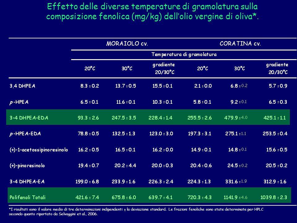 Effetto delle diverse temperature di gramolatura sulla composizione fenolica (mg/kg) dell'olio vergine di oliva*.