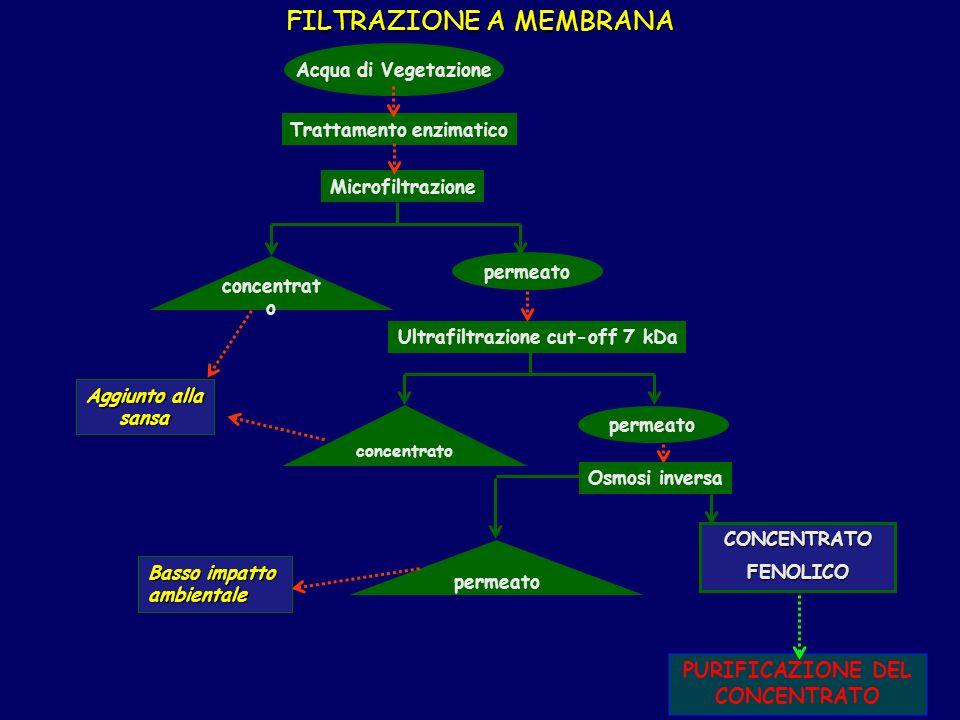 Trattamento enzimatico Ultrafiltrazione cut-off 7 kDa