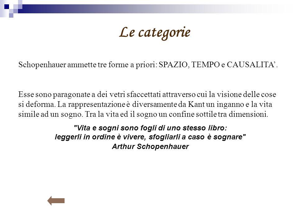 Le categorie Schopenhauer ammette tre forme a priori: SPAZIO, TEMPO e CAUSALITA'.