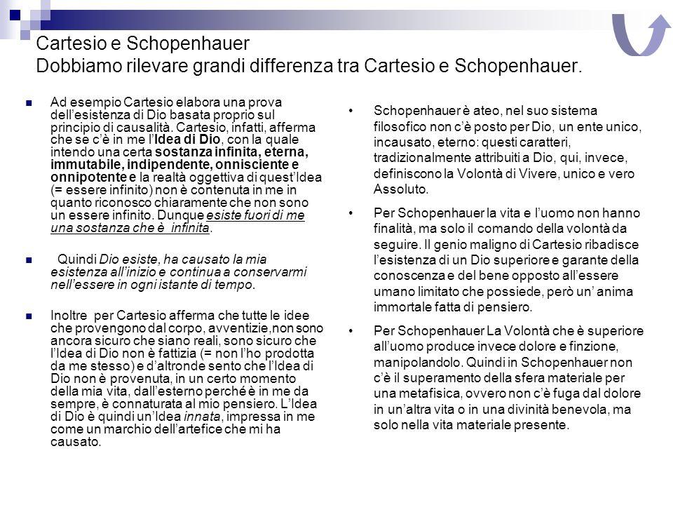 Cartesio e Schopenhauer Dobbiamo rilevare grandi differenza tra Cartesio e Schopenhauer.