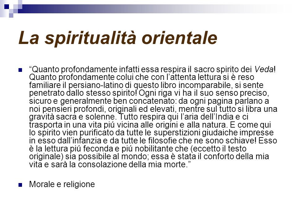 La spiritualità orientale
