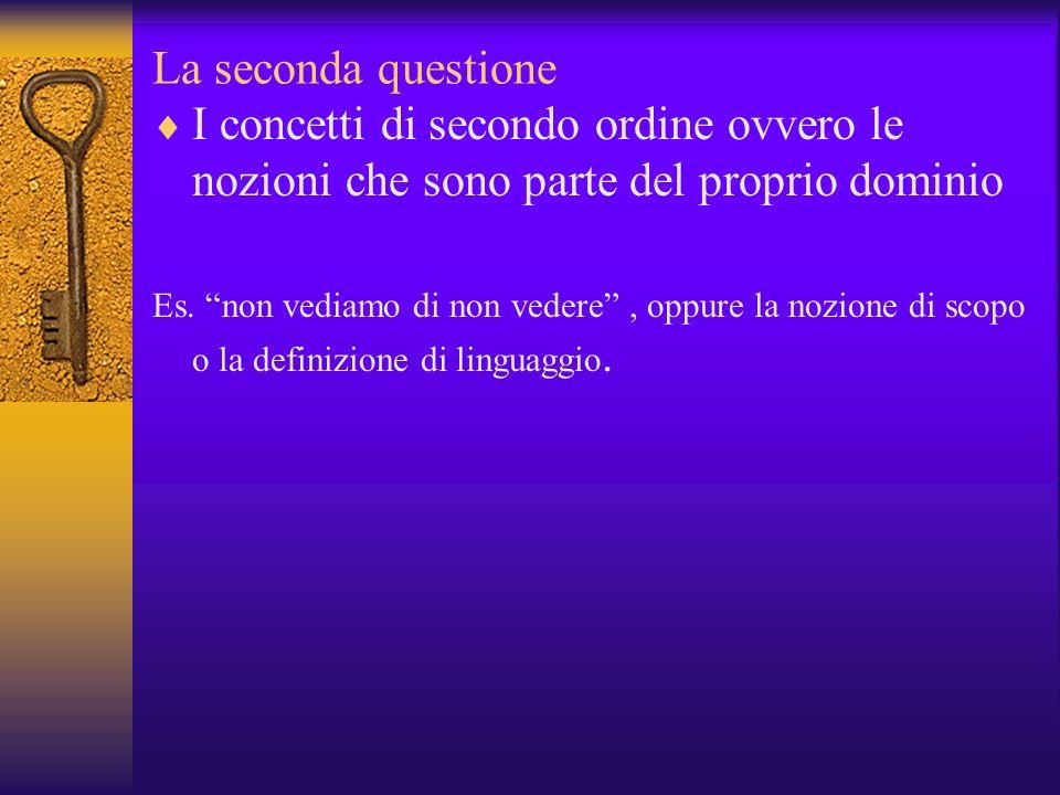La seconda questione I concetti di secondo ordine ovvero le nozioni che sono parte del proprio dominio.