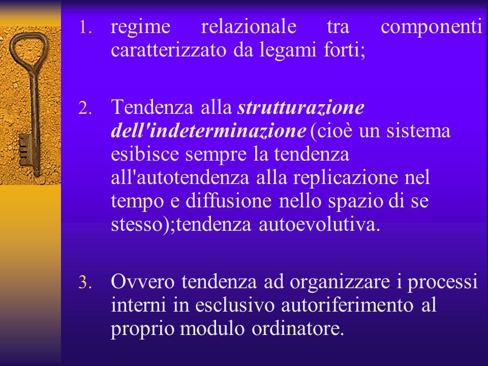 regime relazionale tra componenti caratterizzato da legami forti;