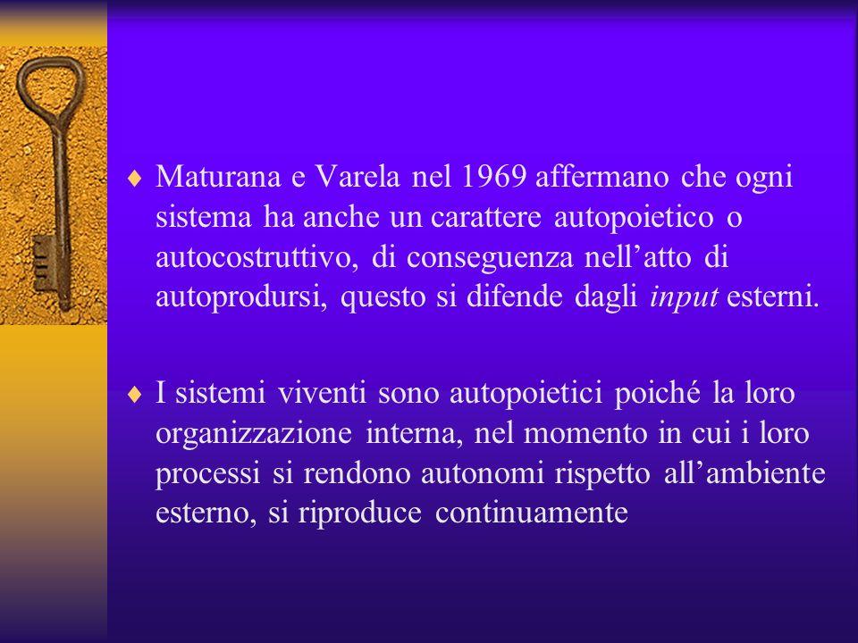Maturana e Varela nel 1969 affermano che ogni sistema ha anche un carattere autopoietico o autocostruttivo, di conseguenza nell'atto di autoprodursi, questo si difende dagli input esterni.