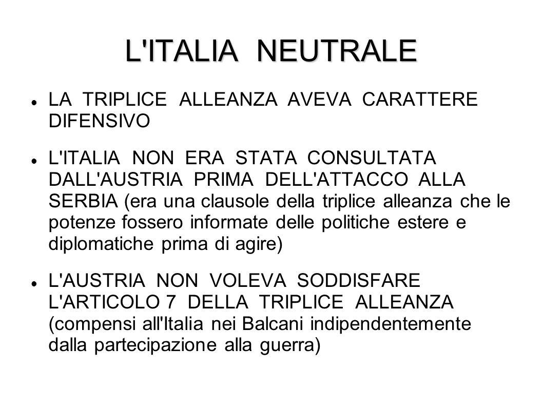 L ITALIA NEUTRALE LA TRIPLICE ALLEANZA AVEVA CARATTERE DIFENSIVO