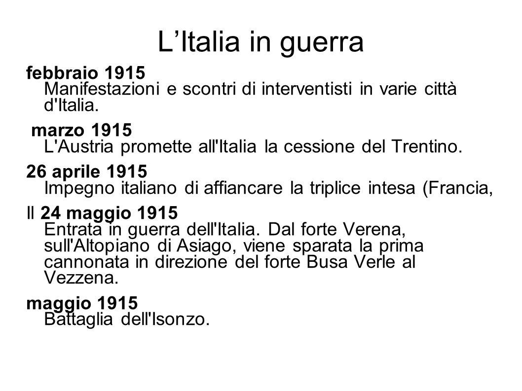 L'Italia in guerra febbraio 1915 Manifestazioni e scontri di interventisti in varie città d Italia.