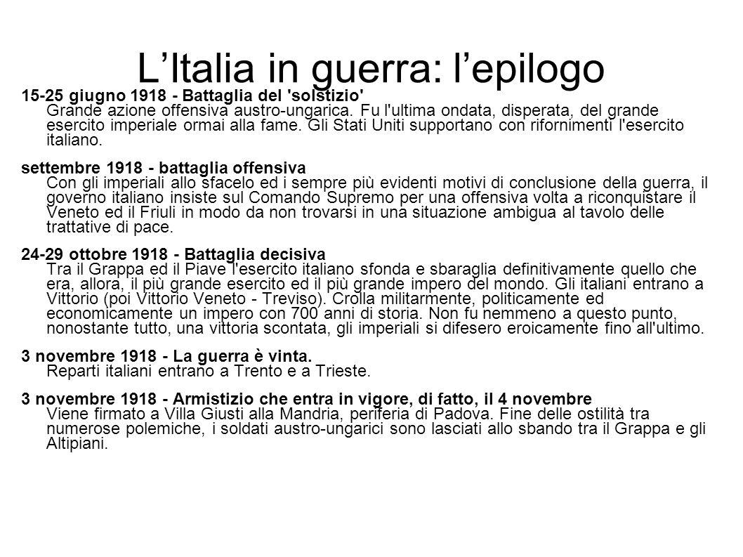 L'Italia in guerra: l'epilogo
