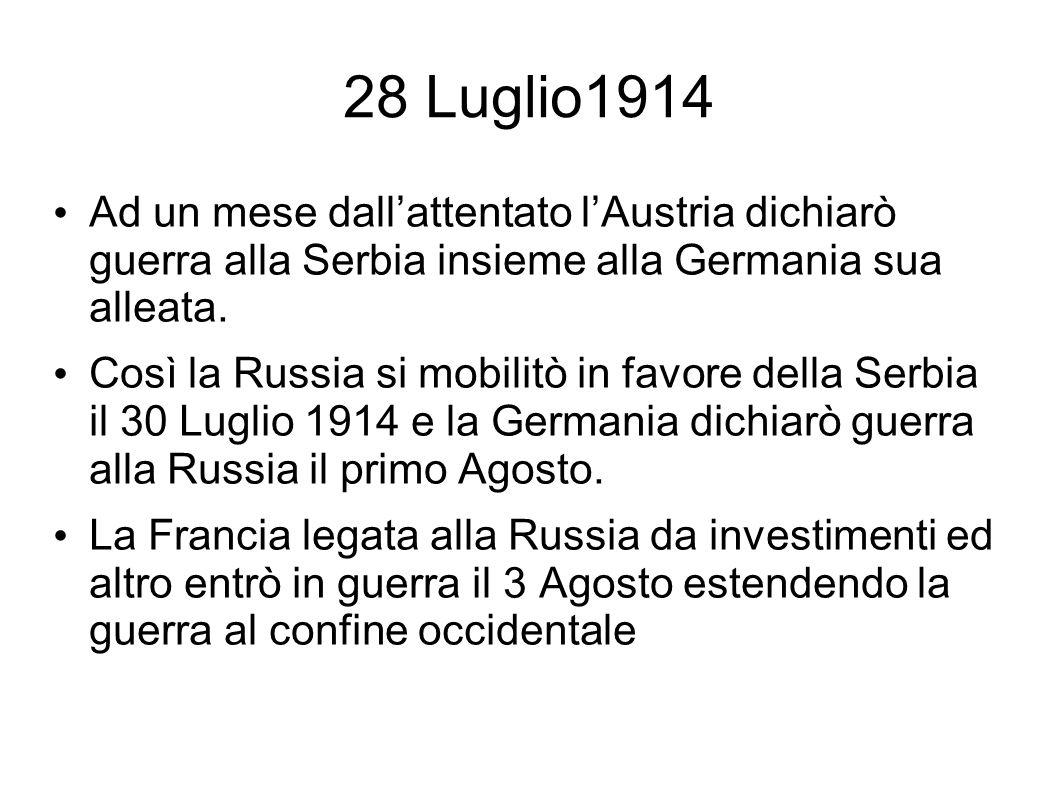 28 Luglio1914 Ad un mese dall'attentato l'Austria dichiarò guerra alla Serbia insieme alla Germania sua alleata.