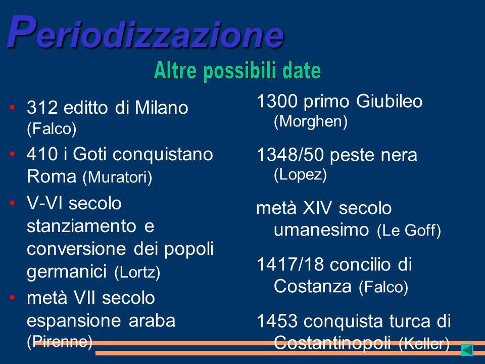 Periodizzazione Altre possibili date 1300 primo Giubileo (Morghen)