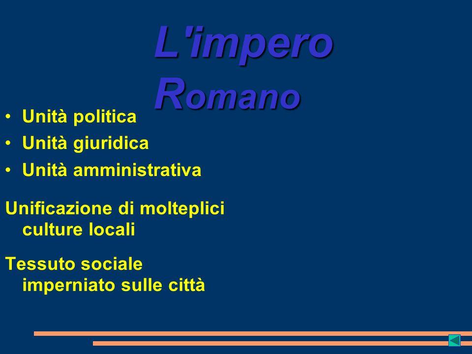 L impero Romano Unità politica Unità giuridica Unità amministrativa
