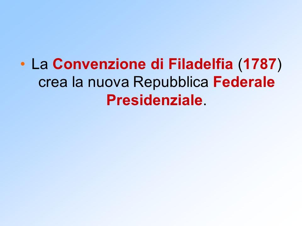 La Convenzione di Filadelfia (1787) crea la nuova Repubblica Federale Presidenziale.