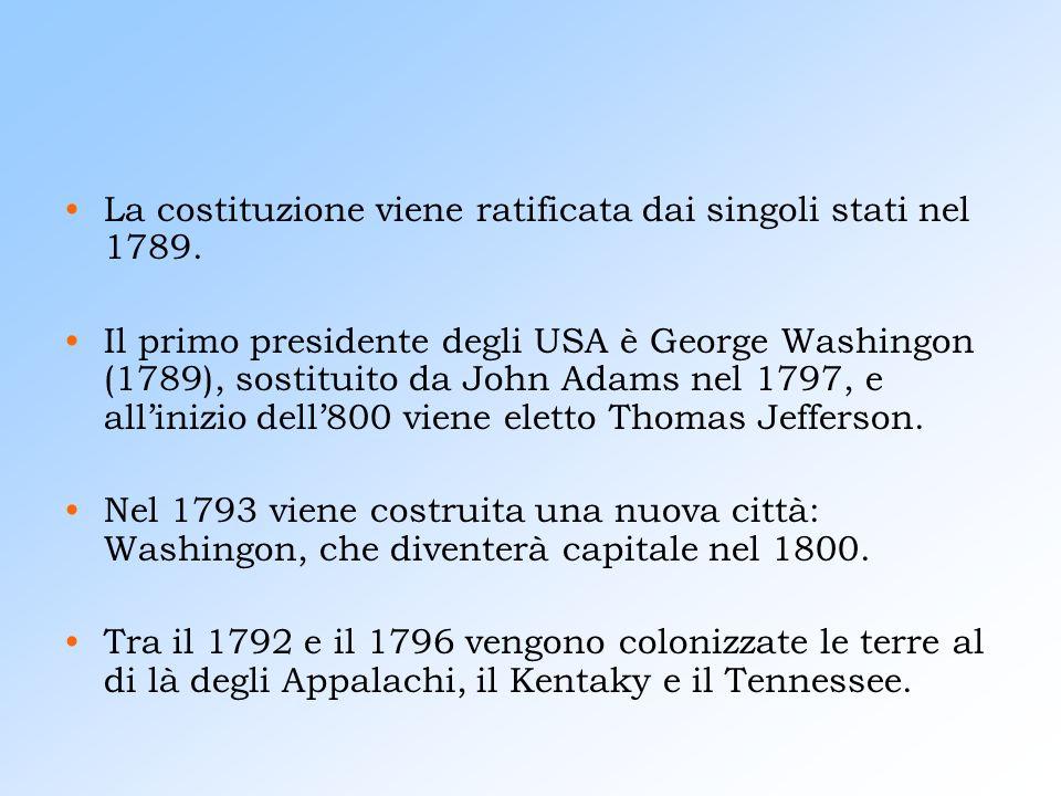 La costituzione viene ratificata dai singoli stati nel 1789.