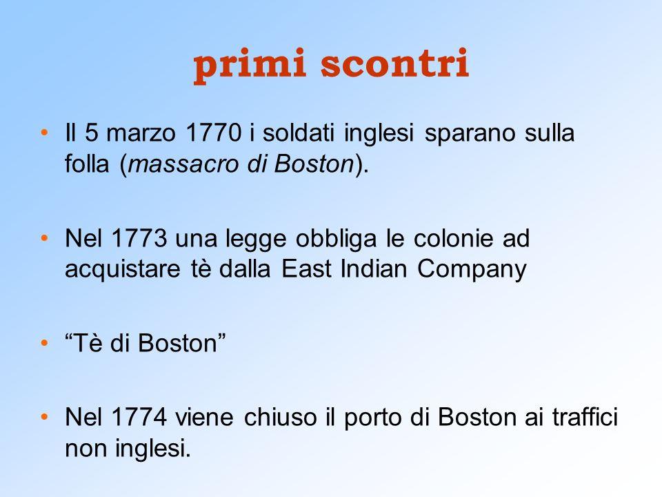 primi scontri Il 5 marzo 1770 i soldati inglesi sparano sulla folla (massacro di Boston).