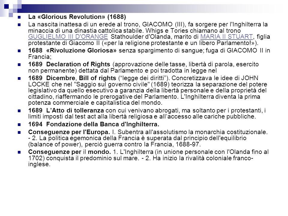 La «Glorious Revolution» (1688)