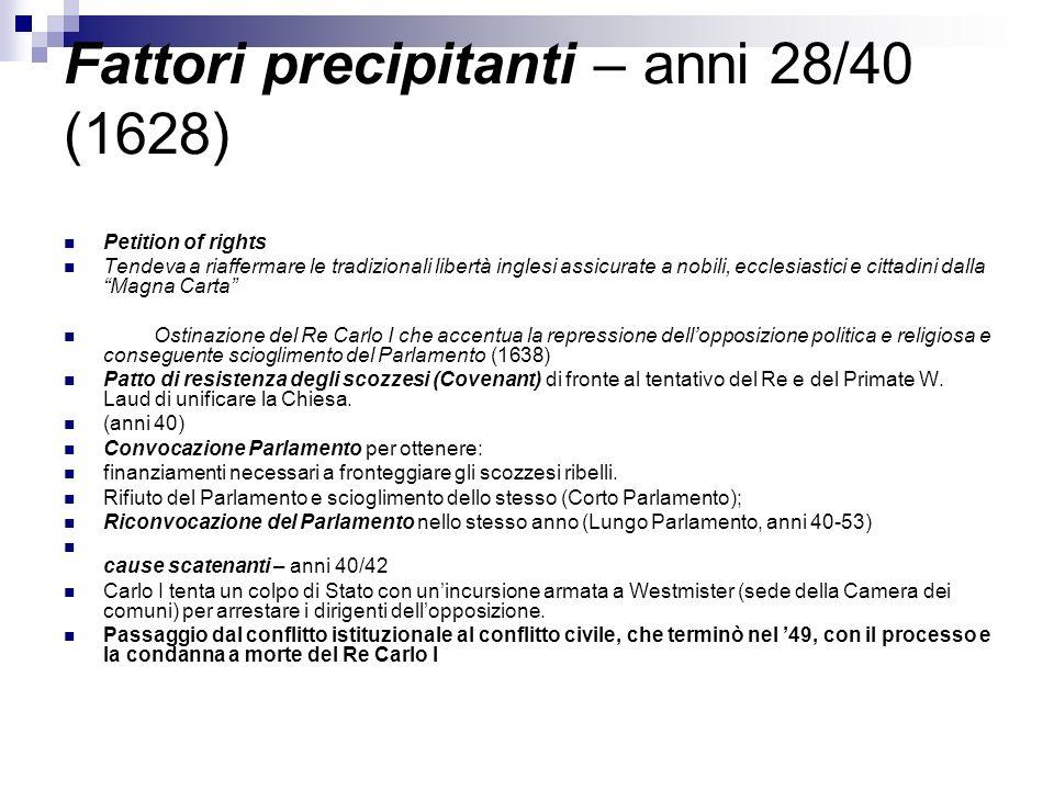 Fattori precipitanti – anni 28/40 (1628)