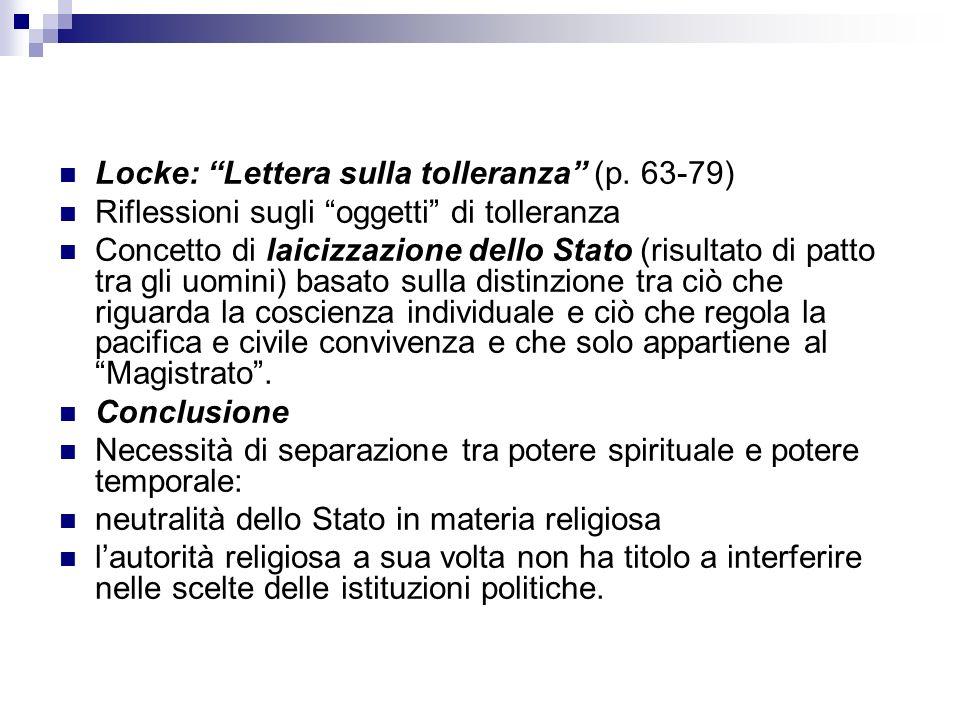 Locke: Lettera sulla tolleranza (p. 63-79)