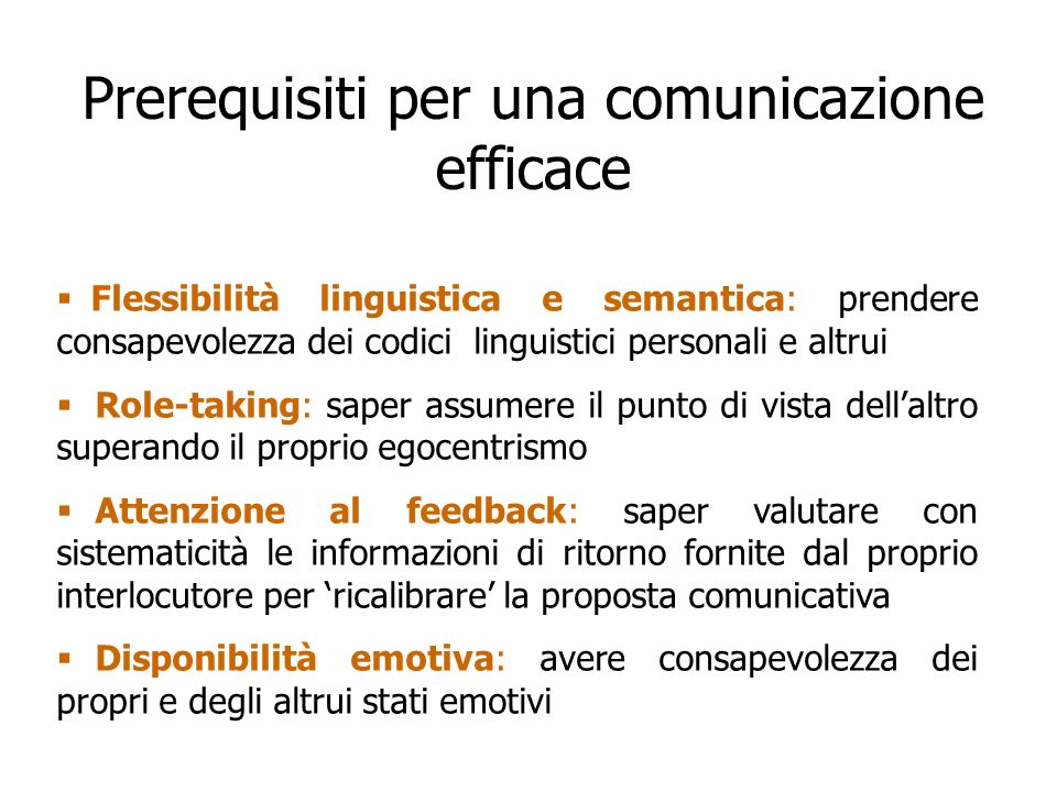 Prerequisiti per una comunicazione efficace