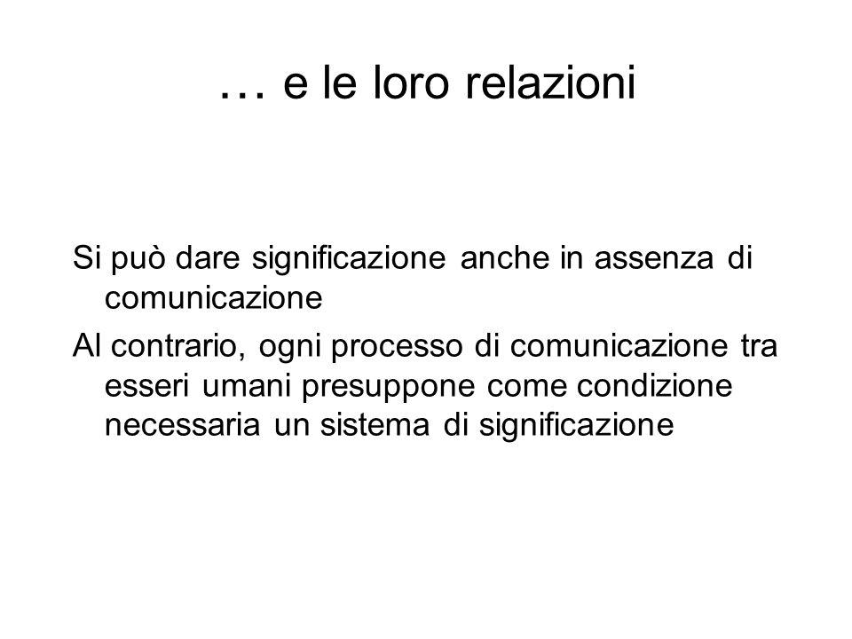 … e le loro relazioni Si può dare significazione anche in assenza di comunicazione.