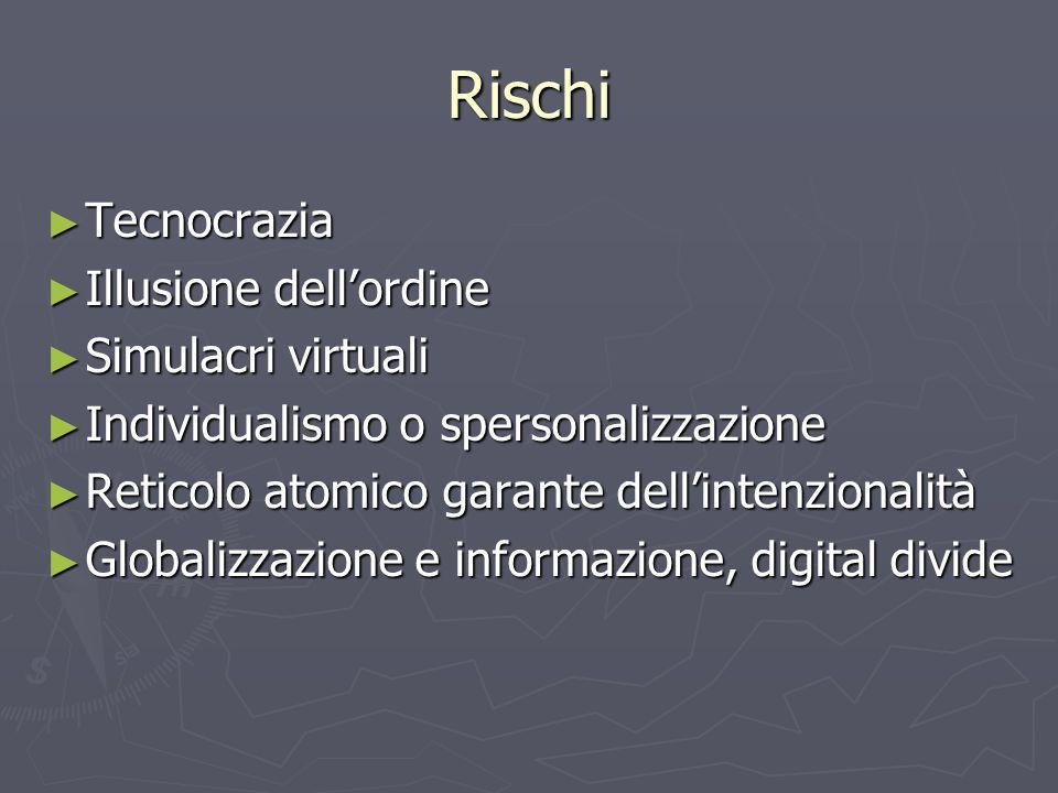 Rischi Tecnocrazia Illusione dell'ordine Simulacri virtuali