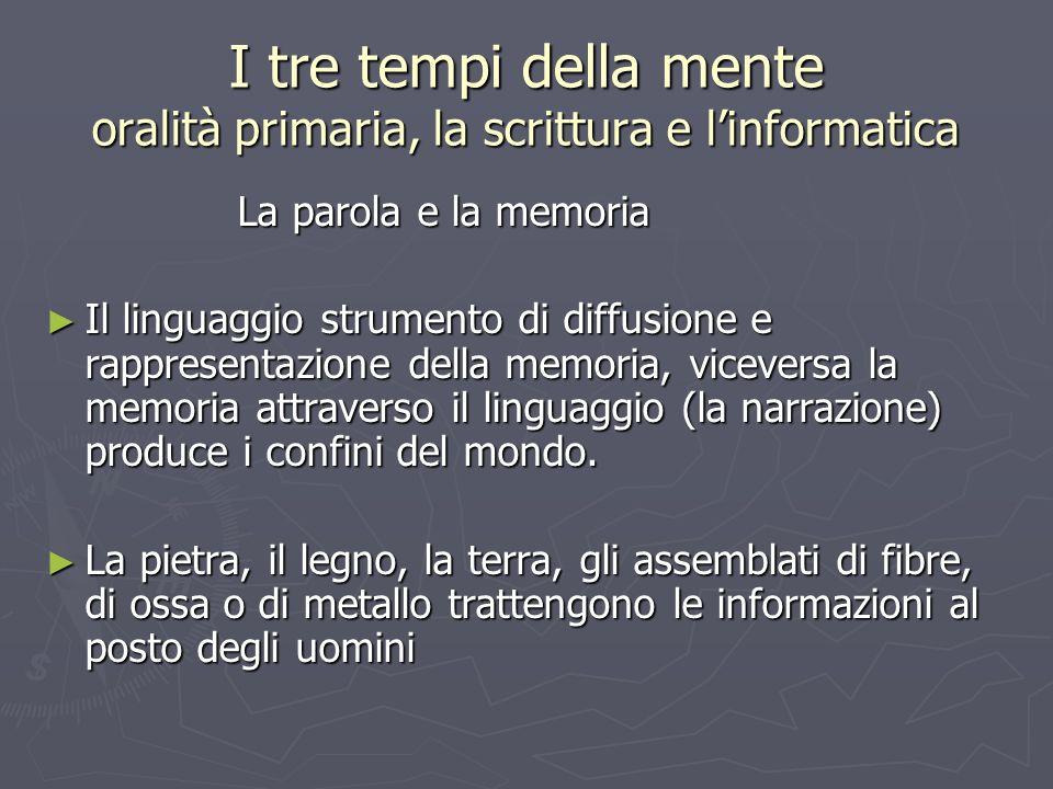 I tre tempi della mente oralità primaria, la scrittura e l'informatica