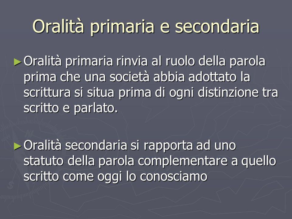 Oralità primaria e secondaria