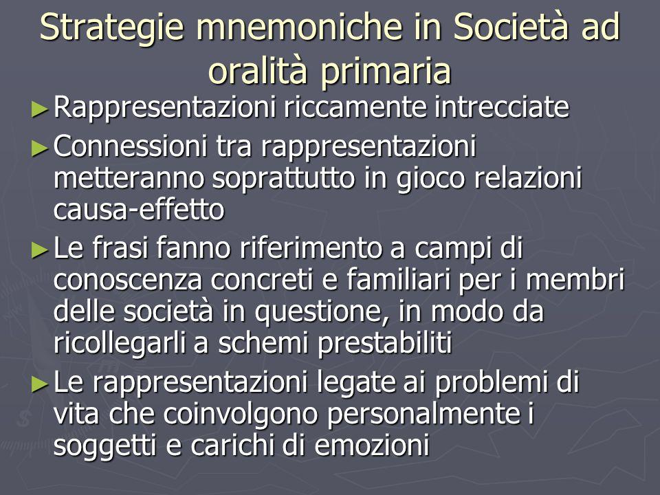 Strategie mnemoniche in Società ad oralità primaria