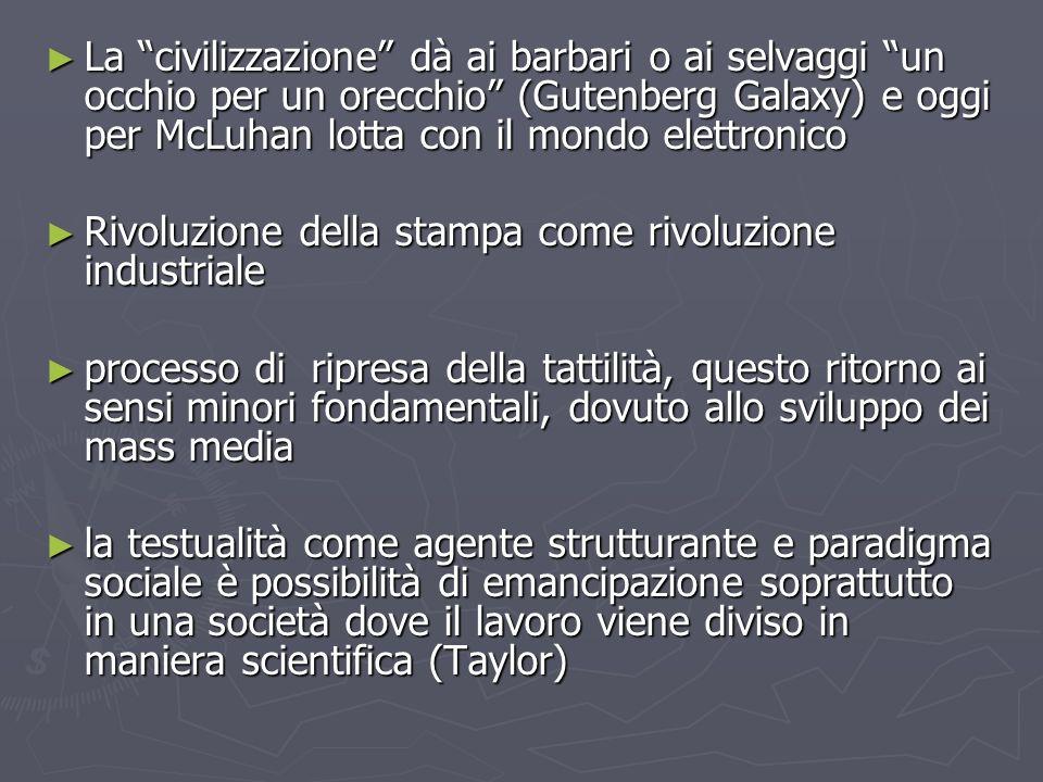 La civilizzazione dà ai barbari o ai selvaggi un occhio per un orecchio (Gutenberg Galaxy) e oggi per McLuhan lotta con il mondo elettronico