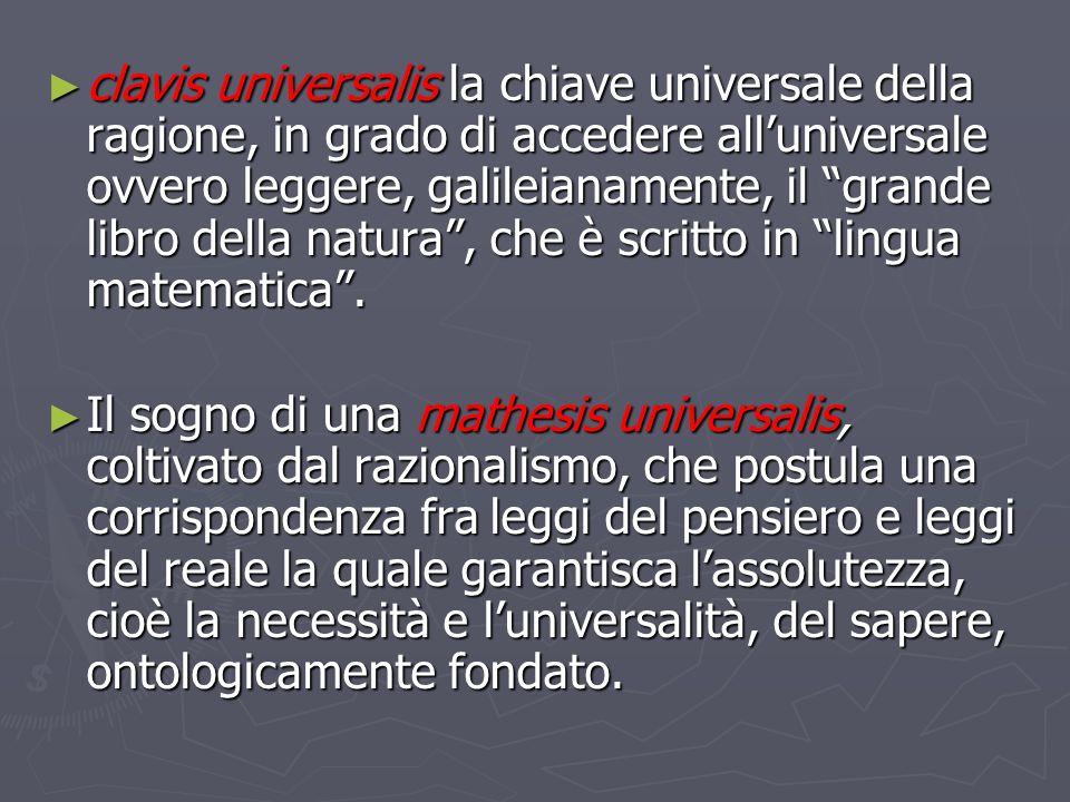 clavis universalis la chiave universale della ragione, in grado di accedere all'universale ovvero leggere, galileianamente, il grande libro della natura , che è scritto in lingua matematica .