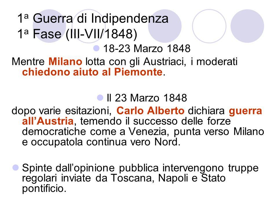 1a Guerra di Indipendenza 1a Fase (III-VII/1848)
