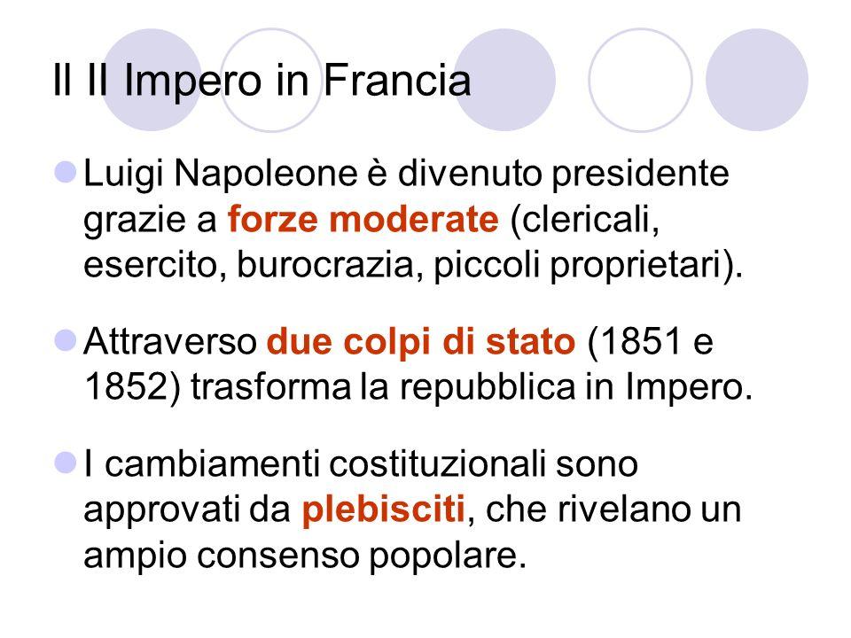 Il II Impero in Francia Luigi Napoleone è divenuto presidente grazie a forze moderate (clericali, esercito, burocrazia, piccoli proprietari).