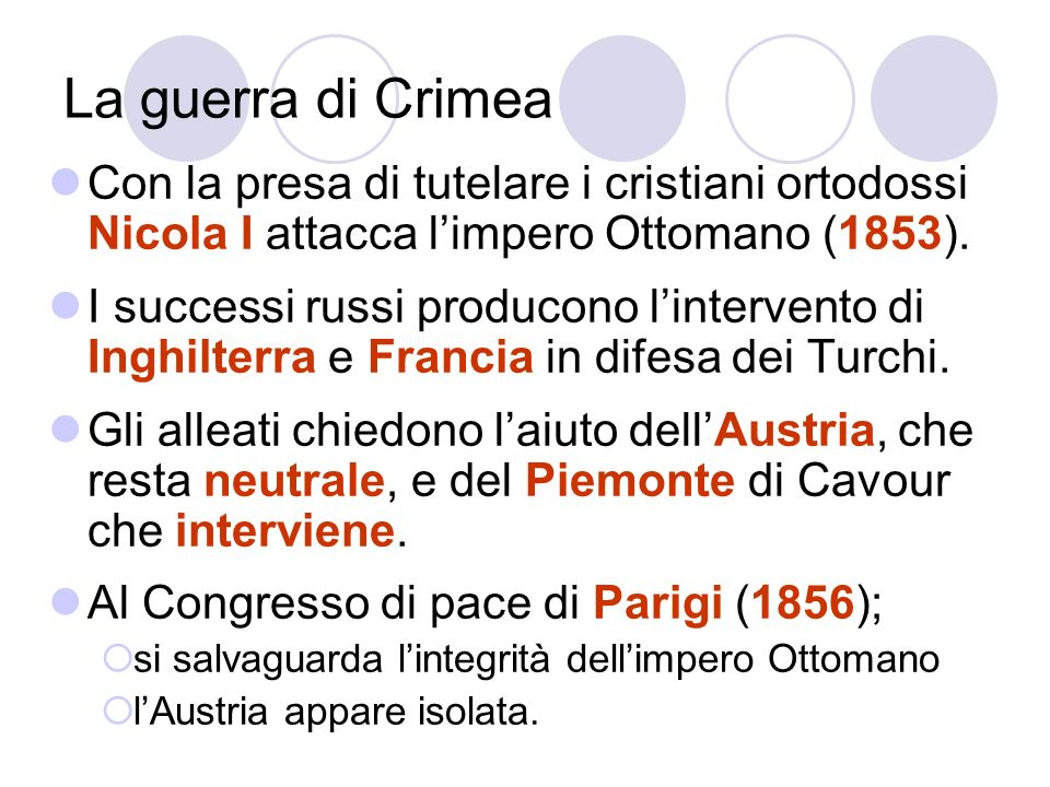 La guerra di Crimea Con la presa di tutelare i cristiani ortodossi Nicola I attacca l'impero Ottomano (1853).